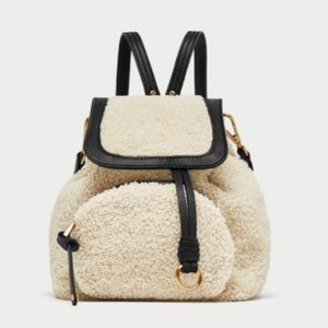 Zara basic ecru faux fur mini backpack